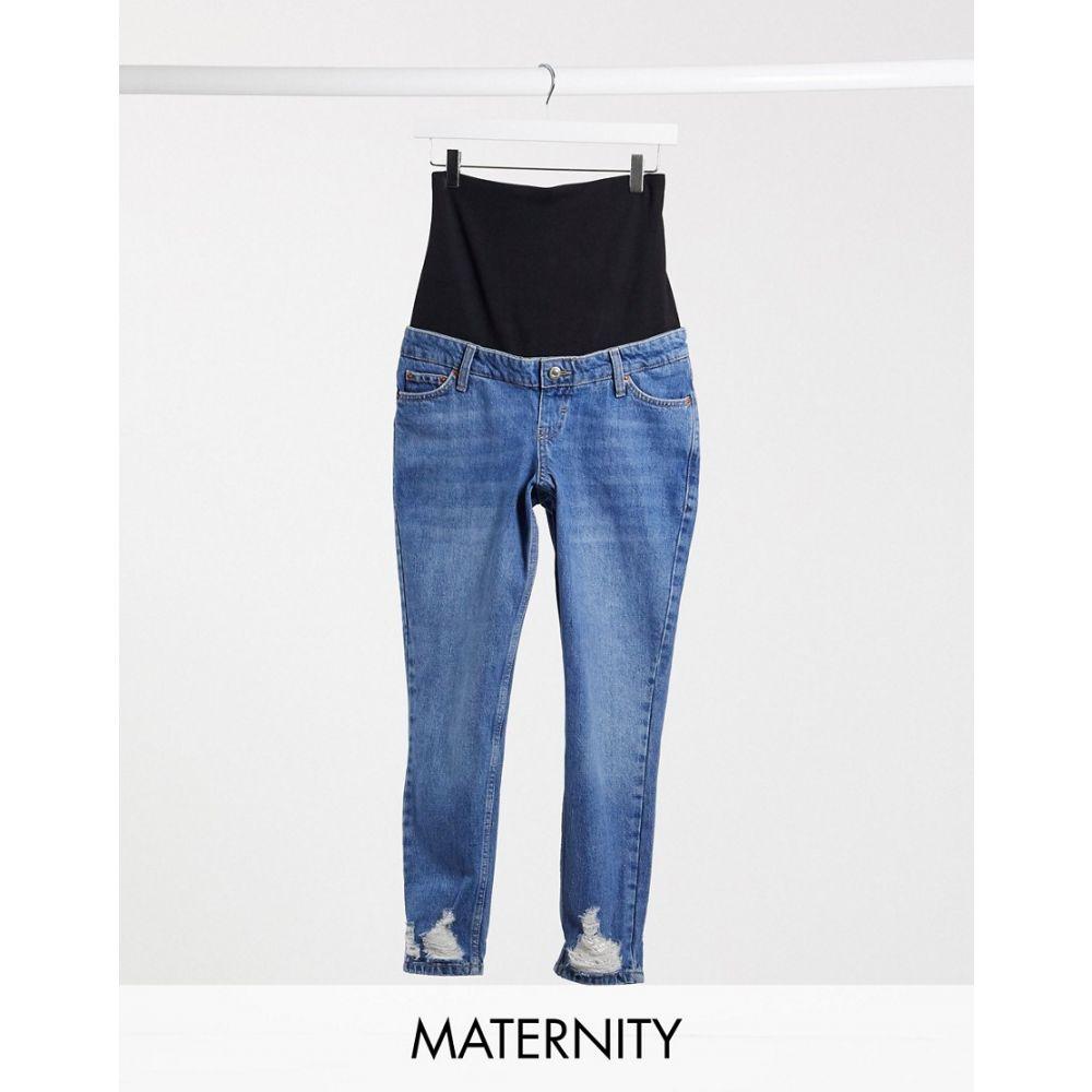 トップショップ マタニティー Topshop Maternity レディース ジーンズ・デニム ボトムス・パンツ【mom rip hem overbump jeans in mid wash】Blue