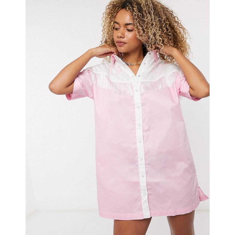 レイジー オーフ Lazy Oaf レディース ワンピース ウエスタンシャツ シャツワンピース ワンピース・ドレス【western shirt dress with fringing and embroidery】Pink
