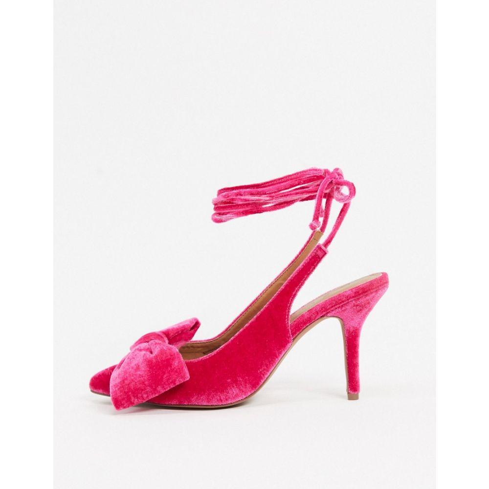 エイソス ASOS DESIGN レディース ヒール シューズ・靴【Sylvie tie leg mid-heels with bow in pink velvet】Pink velvet