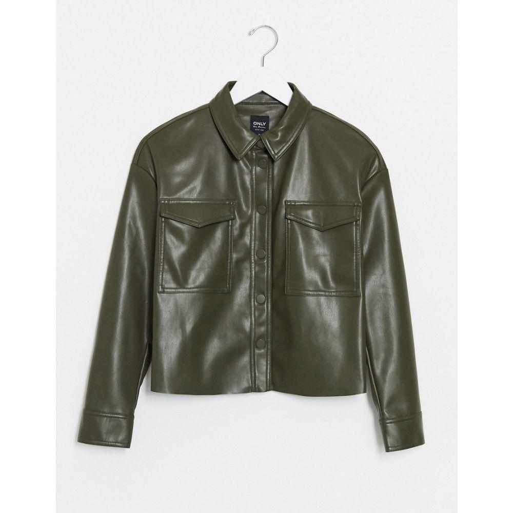 オンリー Only レディース レザージャケット シャツジャケット アウター【leather look shirt jacket in green】Green