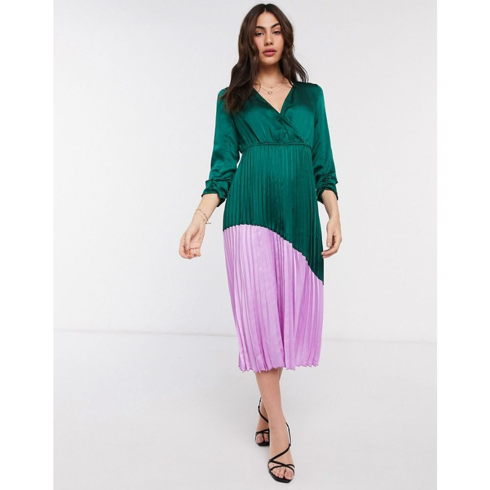 リカリッシュ Liquorish レディース ワンピース ワンピース・ドレス【colourblock dress with pleated skirt in green and bright pink】Green bright pink