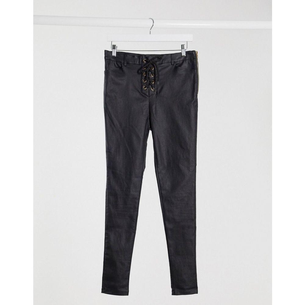 アイソウイットファースト I Saw It First レディース ジーンズ・デニム レースアップ ボトムス・パンツ【coated lace up jeans in black】Black