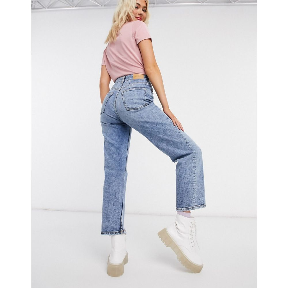 Monki vintage leg high ボトムス・パンツ【Zami ジーンズ・デニム モンキ super jeans waist cropped in レディース straight blue】Blue