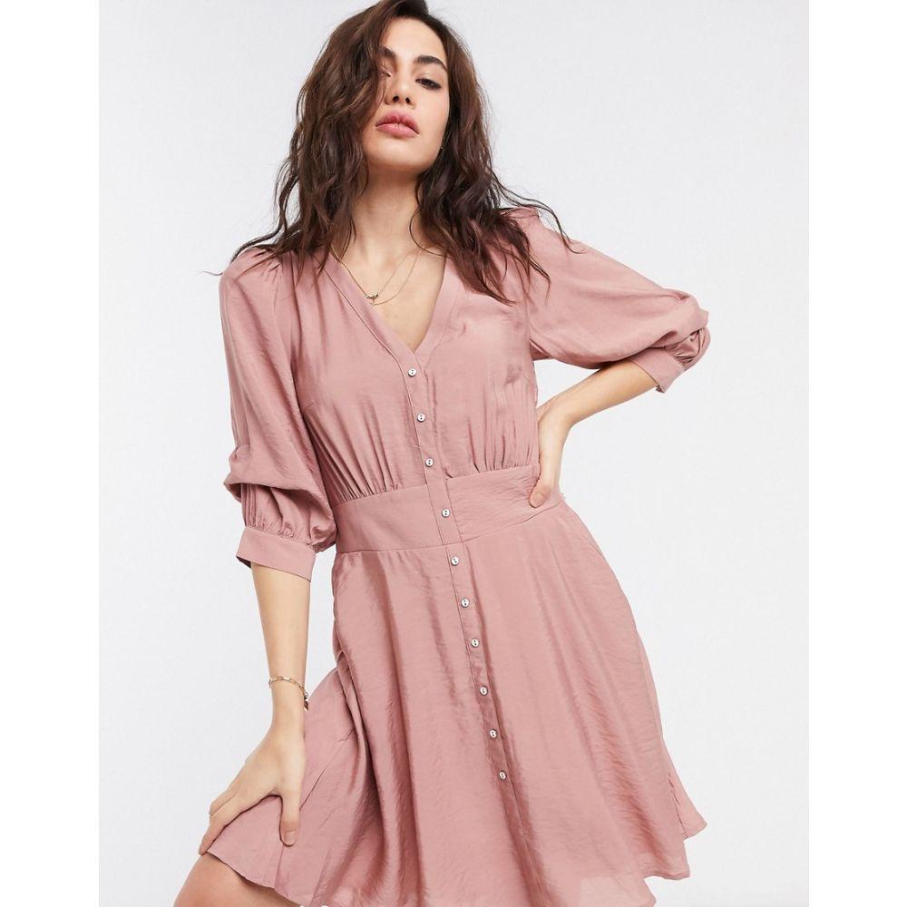 オブジェクト Object レディース ワンピース ミニ丈 ワンピース・ドレス【mini tea dress with button through in pink】Pink