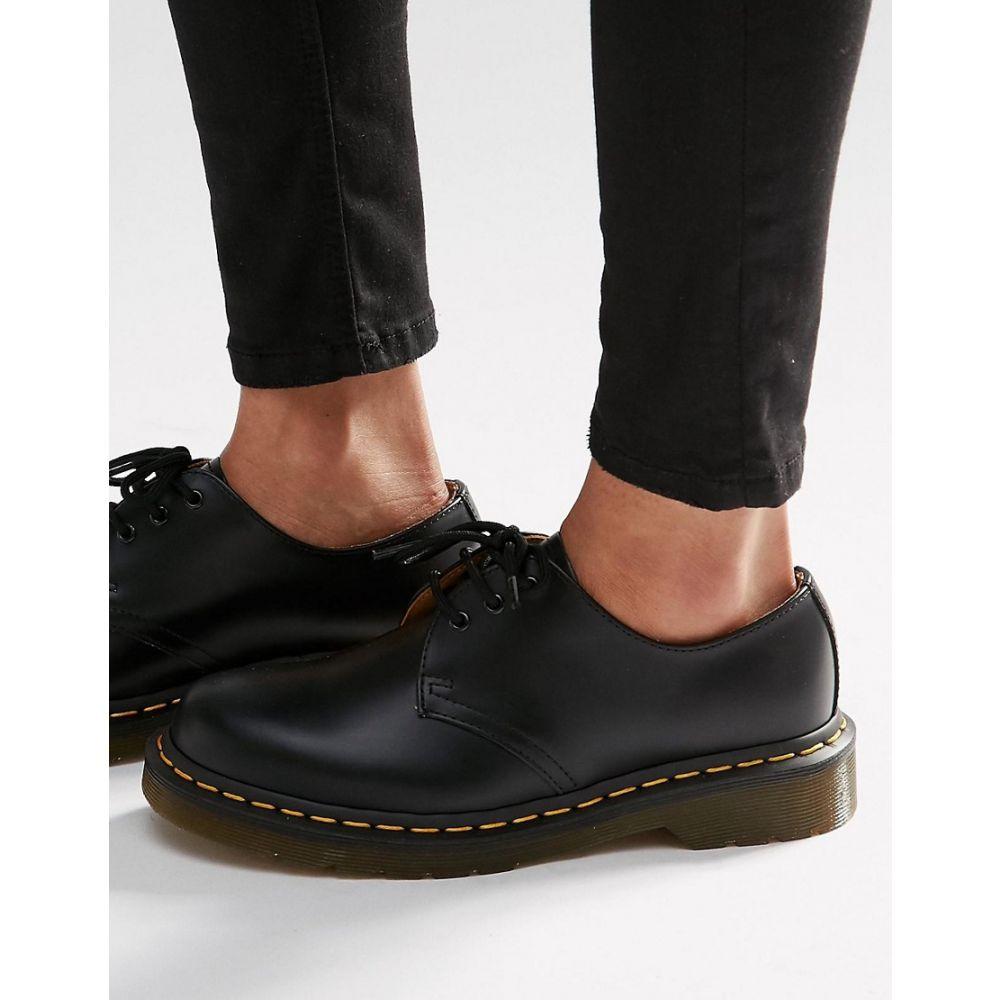 ドクターマーチン Dr Martens レディース スリッポン・フラット シューズ・靴【1461 3-eye gibson flat shoes】Black smooth