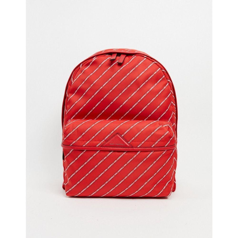 カール ラガーフェルド Karl Lagerfeld レディース バックパック・リュック バッグ【logo stripe detail backpack in red】Ruby