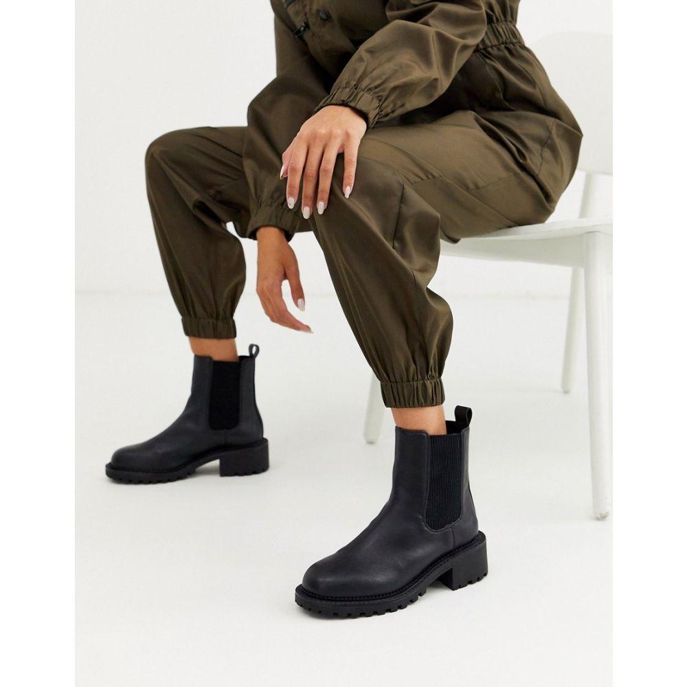 エイソス ASOS DESIGN レディース ブーツ チェルシーブーツ チャンキーヒール シューズ・靴【Action chunky chelsea boots in black】Black