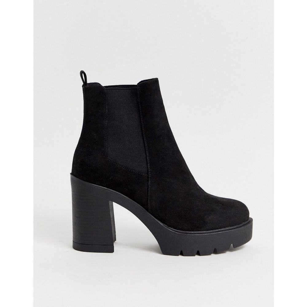 エイソス ASOS DESIGN レディース ブーツ チェルシーブーツ チャンキーヒール シューズ・靴【Elderberry chunky chelsea boots in black】Black