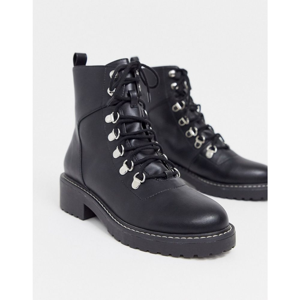 ロンドン レーベル London Rebel レディース ブーツ チャンキーヒール シューズ・靴【chunky hiker boots in black】Black micro