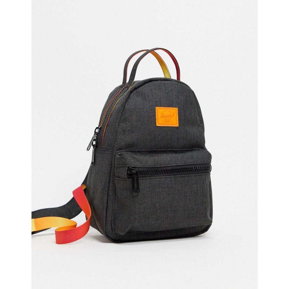 ハーシェル サプライ Herschel Supply Co レディース バックパック・リュック バッグ【Herschel Supply co. Nova small contrast backpack in black and orange】Crosshatch sunset
