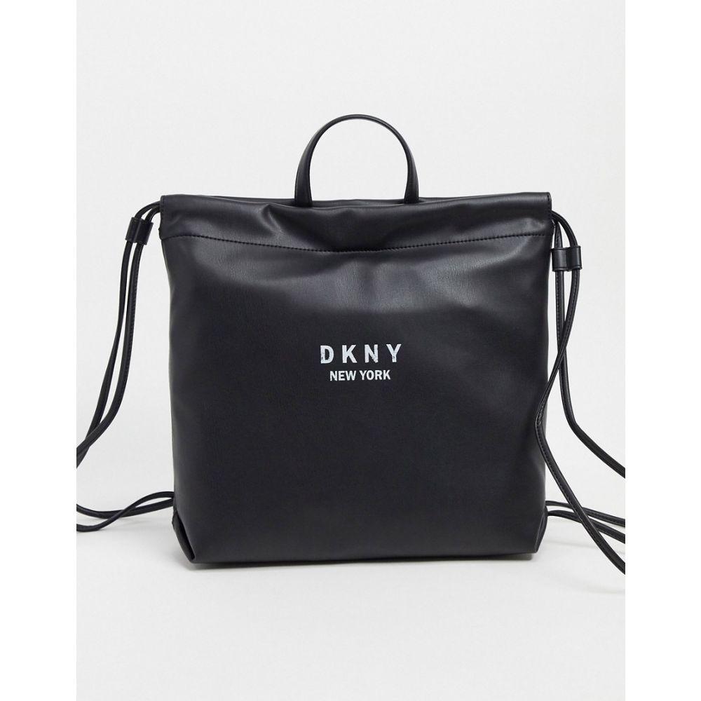 ダナ キャラン ニューヨーク DKNY レディース バックパック・リュック バッグ【drawstring backpack in black】Black/white