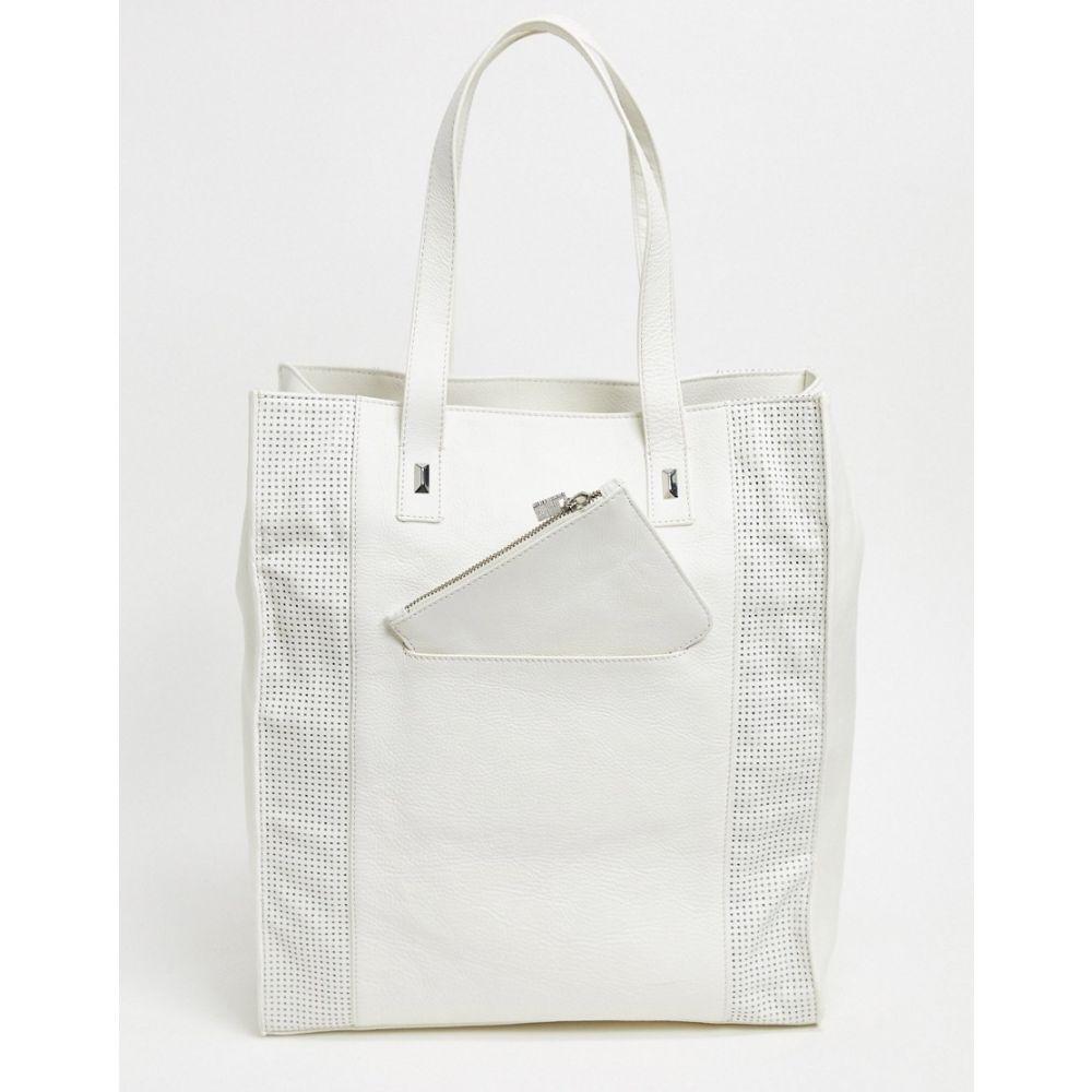 フレンチコネクション French Connection レディース トートバッグ バッグ【tote bag with perforated detail in white】White
