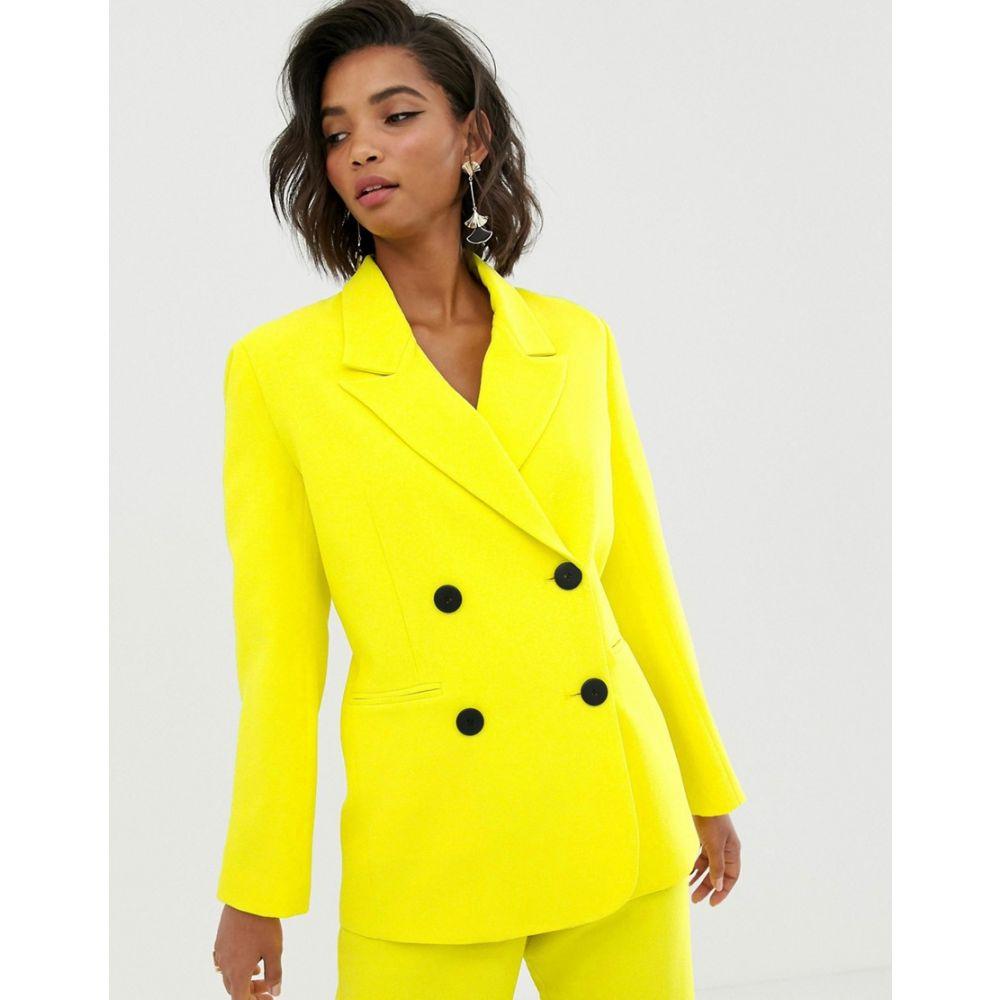 エイソス ASOS EDITION レディース スーツ・ジャケット アウター【double breasted mansy jacket】Yellow