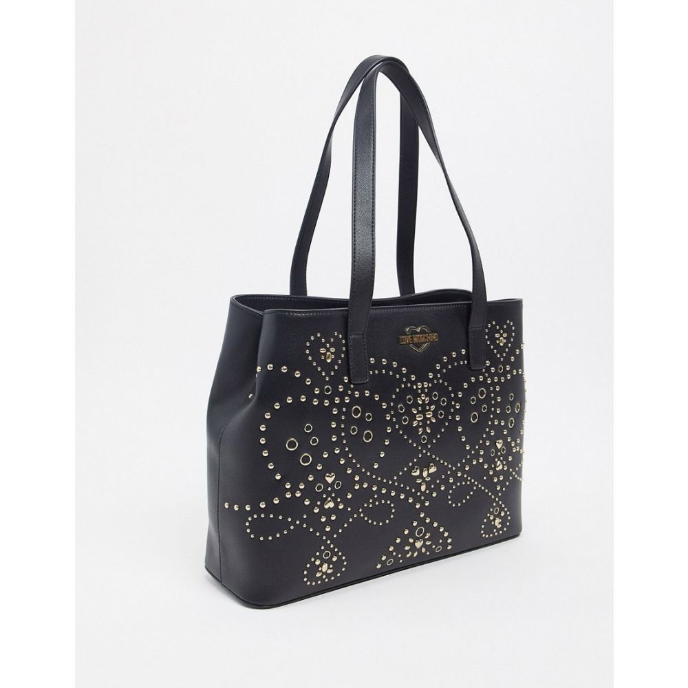 モスキーノ Love Moschino レディース トートバッグ バッグ【shopper bag with studding detail in gold】Black