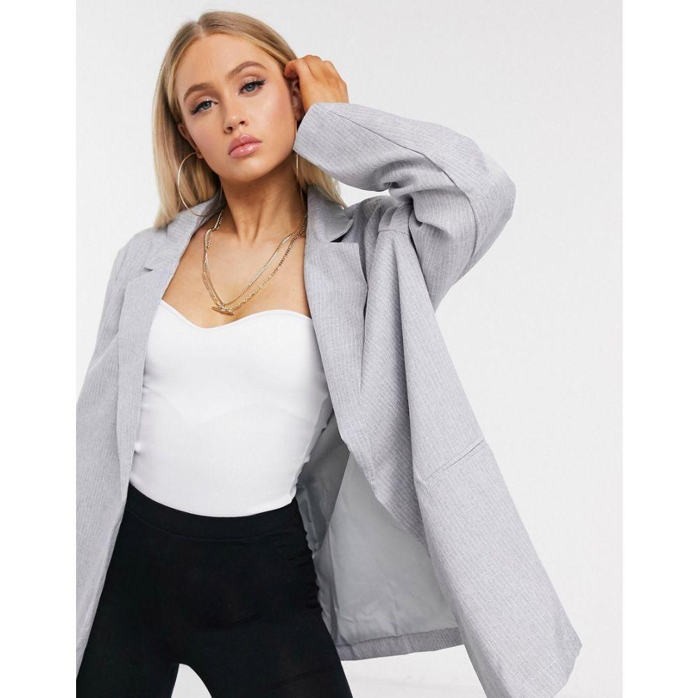 パブリックディザイア Public Desire レディース スーツ・ジャケット アウター【oversized dad blazer in pinstripe】Grey pinstripe