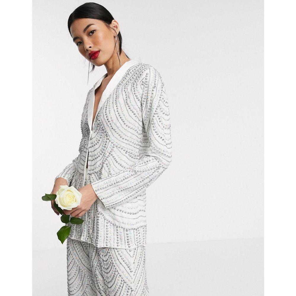 Beauut レディース スーツ・ジャケット アウター【Bridal embellished jacket co ord】White