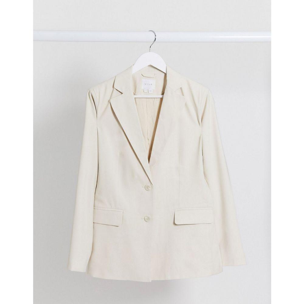 ヴィラ Vila レディース スーツ・ジャケット アウター【tailored blazer in cream】Cream