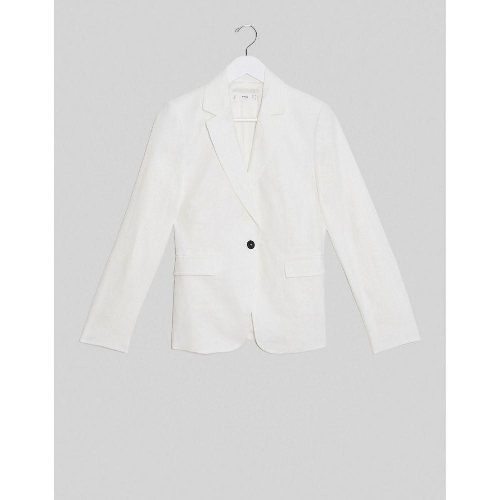 マンゴ Mango レディース スーツ・ジャケット アウター【co ord linen blazer in white】White