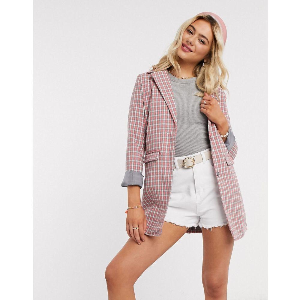 ハートブレーク Heartbreak レディース スーツ・ジャケット アウター【oversized blazer in pink and grey check】Pink/grey