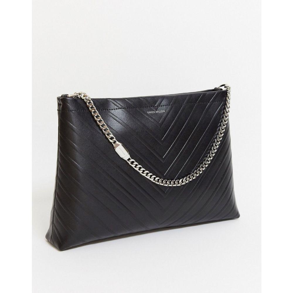 カレンミレン Karen Millen レディース ショルダーバッグ バッグ【avery embossed shoulder bag in black】Black