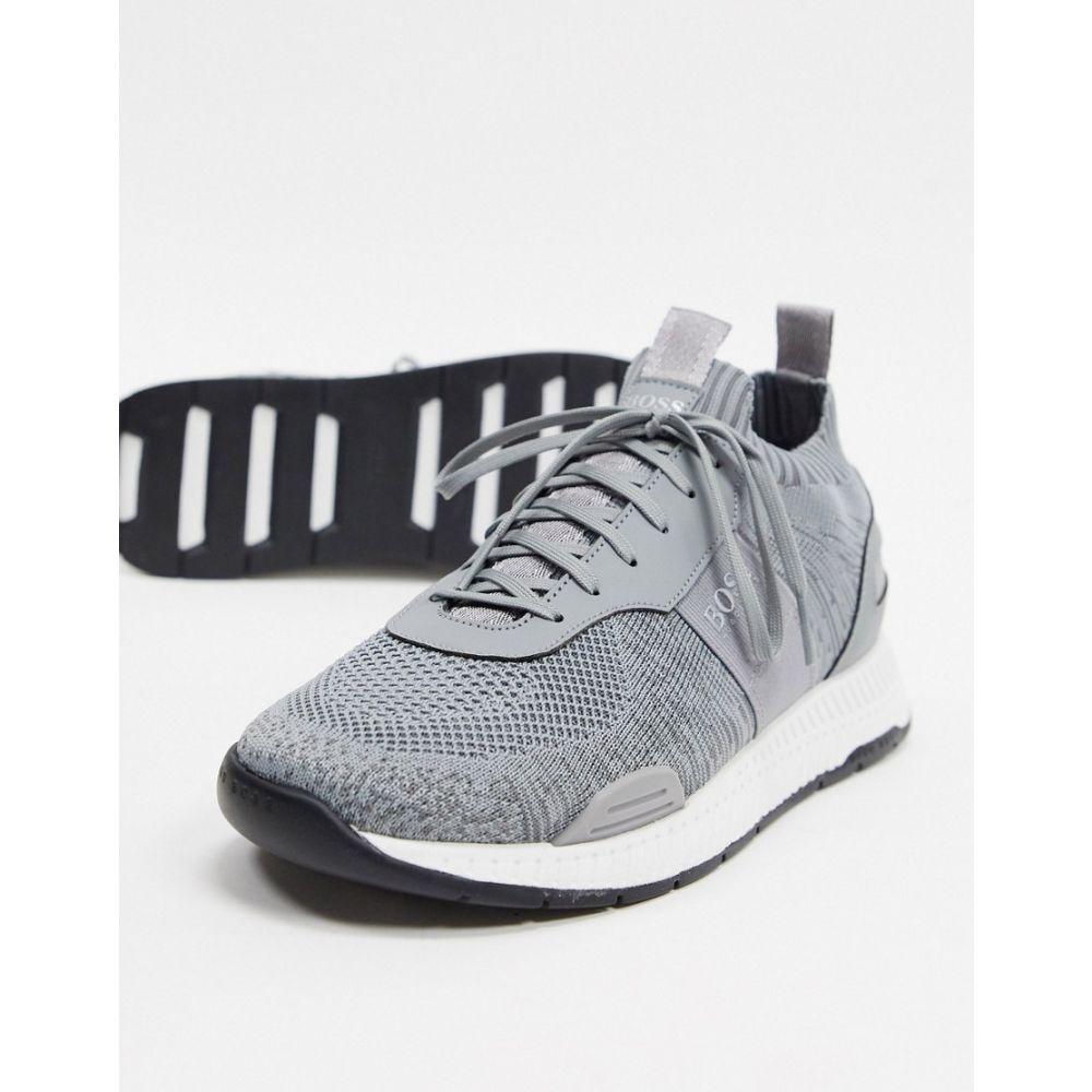 ヒューゴ ボス BOSS メンズ ランニング・ウォーキング シューズ・靴【Titanium odour repellent runner trainers in grey】Grey