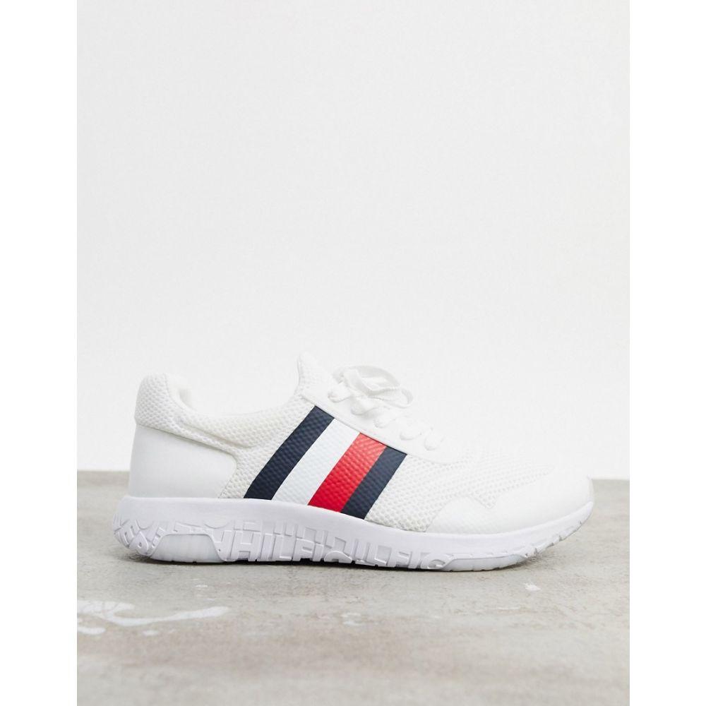 トミー ヒルフィガー Tommy Hilfiger メンズ ランニング・ウォーキング シューズ・靴【corporate stripe lightweight knit runners in white】White