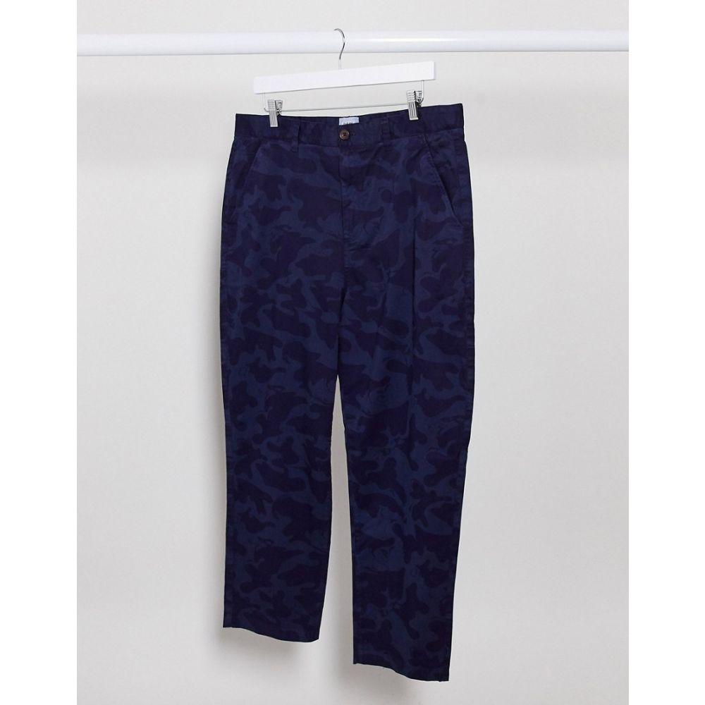 ファーラー Farah メンズ クロップド ボトムス・パンツ【Hawtin loose tapered crop fit camo print trousers in blue】True navy