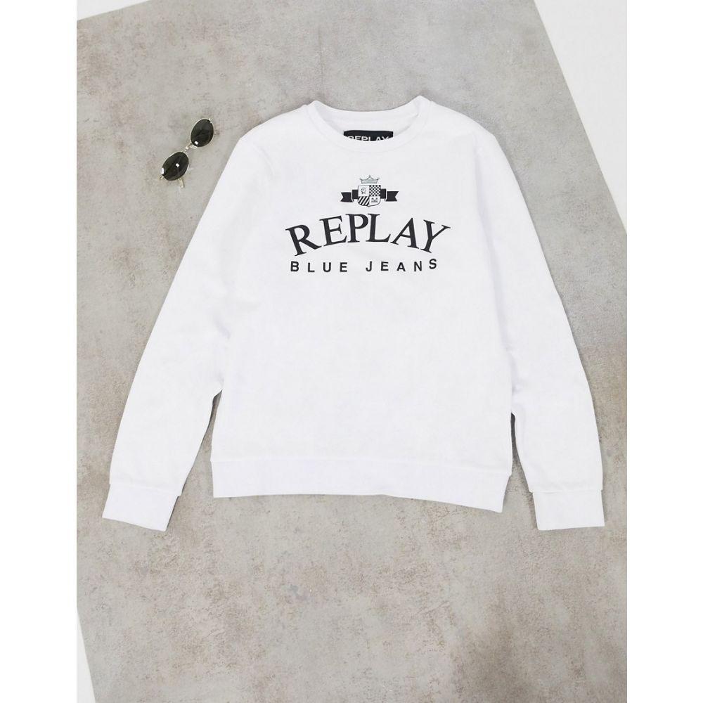 リプレイ Replay メンズ スウェット・トレーナー トップス【chest logo crew sweat】White