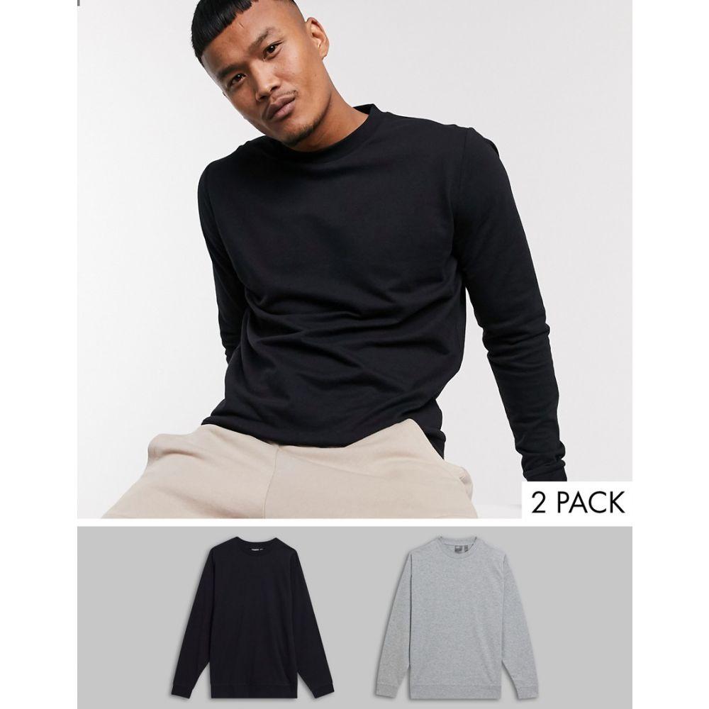 エイソス ASOS DESIGN メンズ スウェット・トレーナー 2点セット トップス【lightweight sweatshirt 2 pack in black & grey marl】Black/gry marl