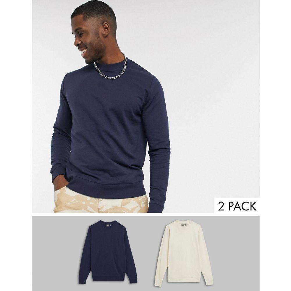 エイソス ASOS DESIGN メンズ スウェット・トレーナー 2点セット トップス【lightweight sweatshirt 2 pack in navy & beige】Navy/fog