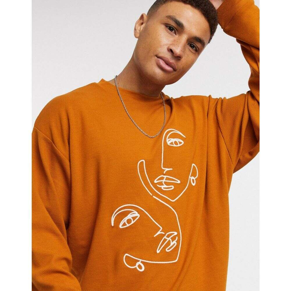 エイソス ASOS DESIGN メンズ スウェット・トレーナー トップス【sweatshirt with texture and line embroidery】Roasten pecan