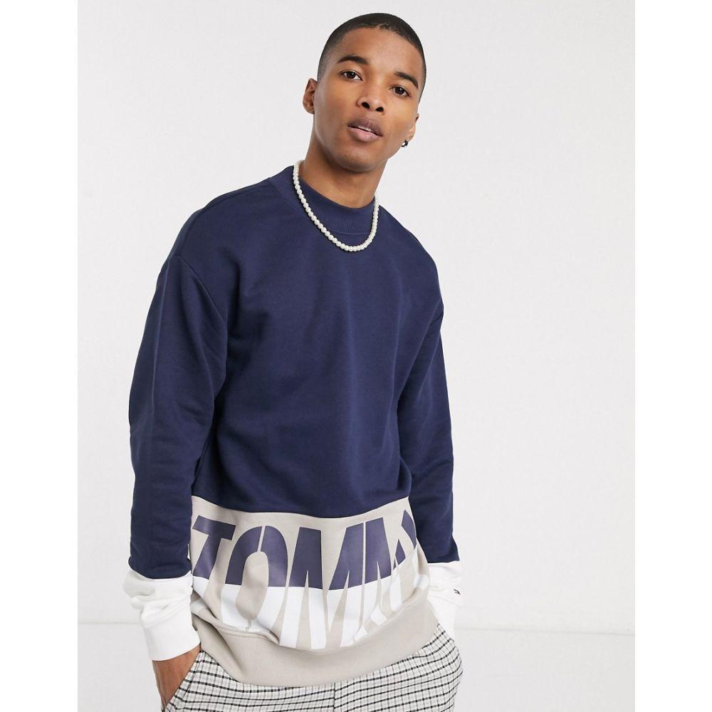 トミー ジーンズ Tommy Jeans メンズ スウェット・トレーナー トップス【colorblock large logo crew neck sweatshirt in navy】Twilight navy/mult