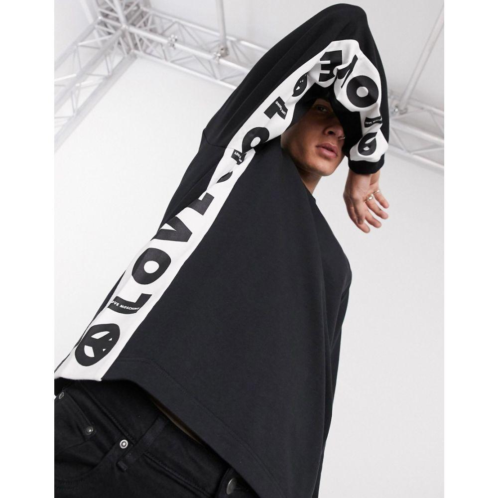 モスキーノ Love Moschino メンズ スウェット・トレーナー トップス【print crew neck sweat】Black