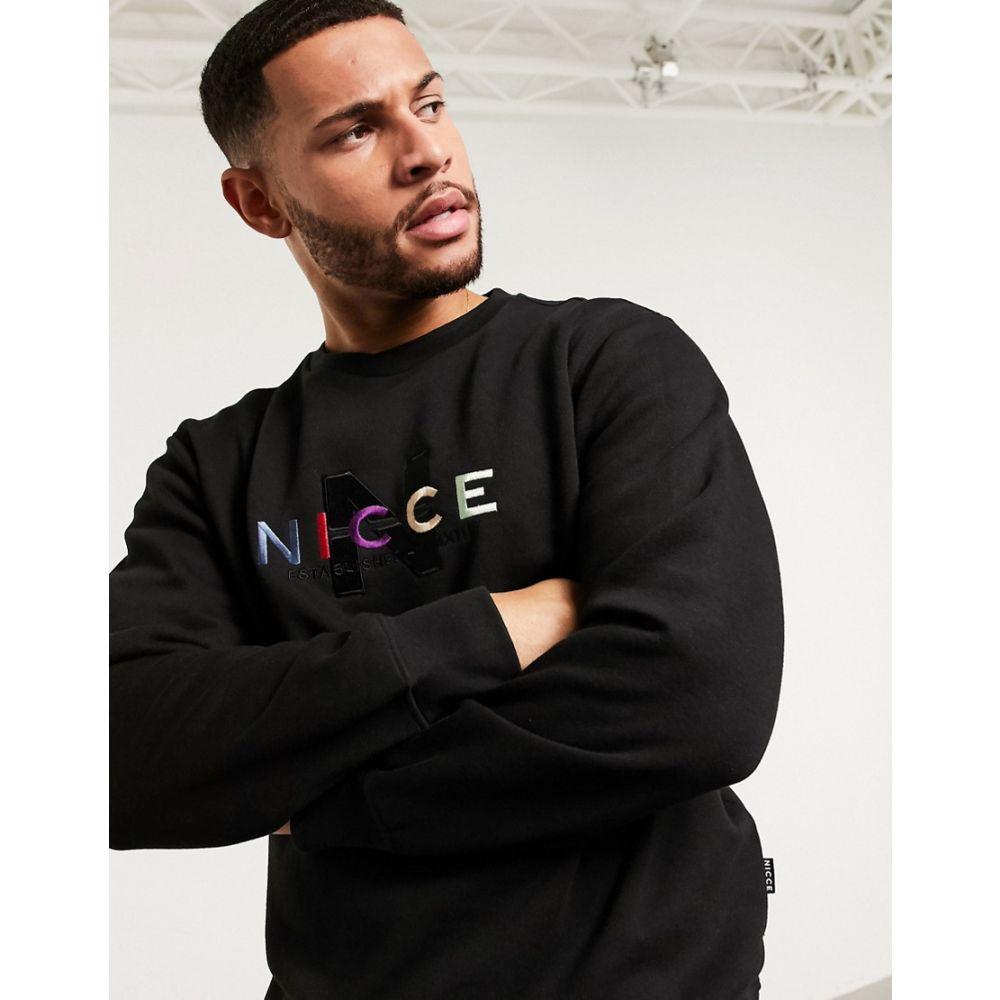 ニッチェ ロンドン Nicce メンズ スウェット・トレーナー トップス【Monta sweatshirt with embroidered logo in black】Black