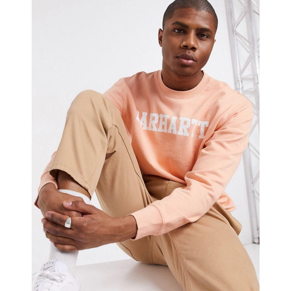 カーハート Carhartt WIP メンズ スウェット・トレーナー トップス【College sweatshirt in peach】Peach/white