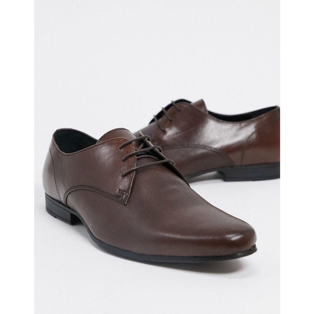 トップマン Topman メンズ 革靴・ビジネスシューズ ダービーシューズ シューズ・靴【leather derby shoes in black】Tan