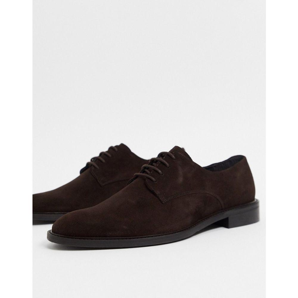 トップマン Topman メンズ 革靴・ビジネスシューズ ダービーシューズ シューズ・靴【suede derby shoes in brown】Brown