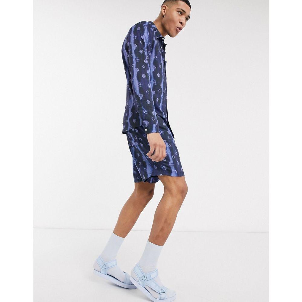 エイソス ASOS MADE IN メンズ シャツ トップス【KENYA regular fit spot print shirt co-ord】Woven navy spot