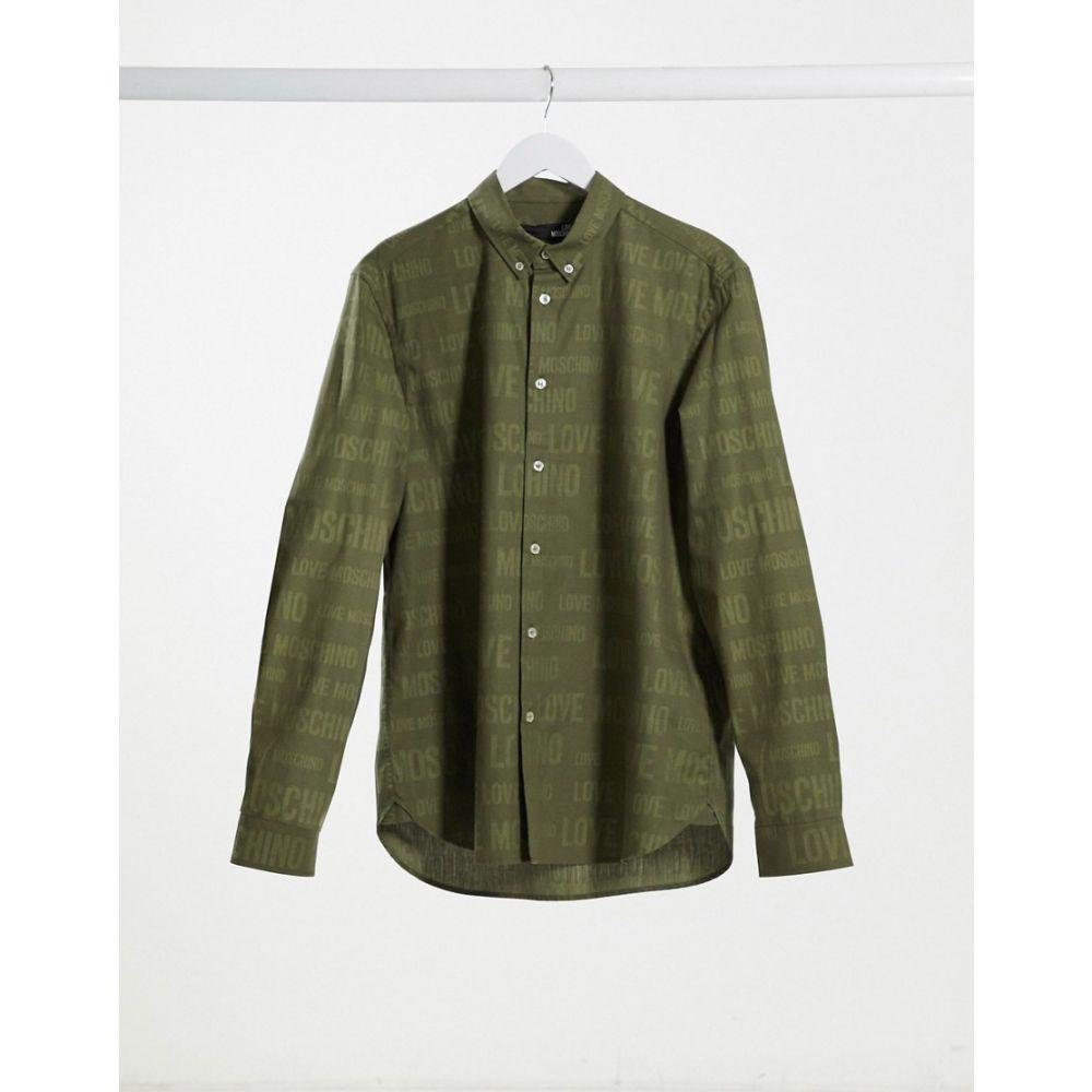 モスキーノ Love Moschino メンズ シャツ トップス【all over logo jacquard shirt】Green