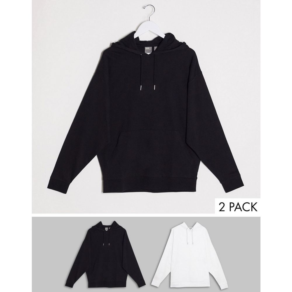 エイソス ASOS DESIGN メンズ パーカー 2点セット トップス【lightweight oversized hoodie 2 pack in black / white】Black.white