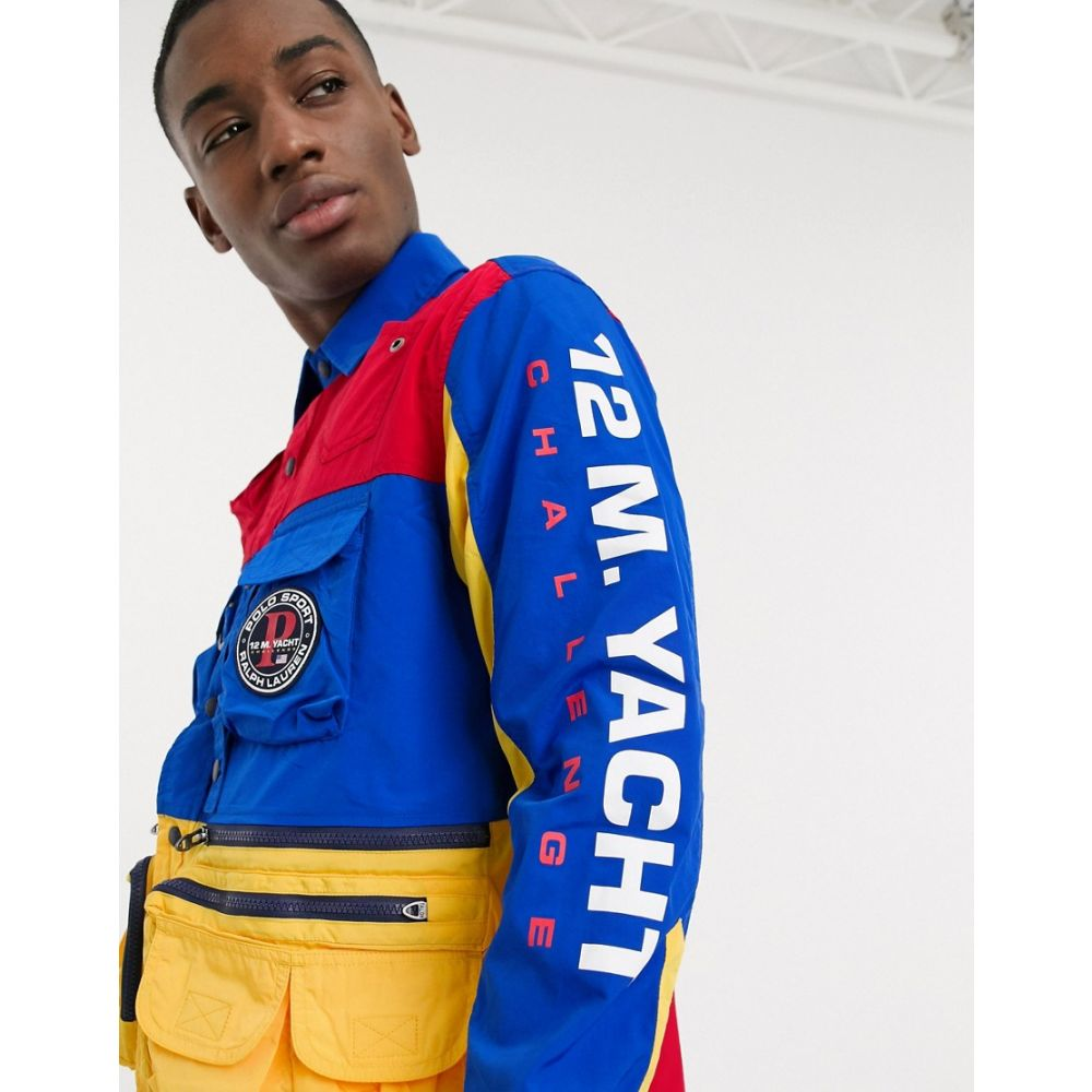 ラルフ ローレン Polo Ralph Lauren メンズ ジャケット オーバーシャツ アウター【Sport Capsule colourblock utility pocket overshirt jacket in multi】multi pieced