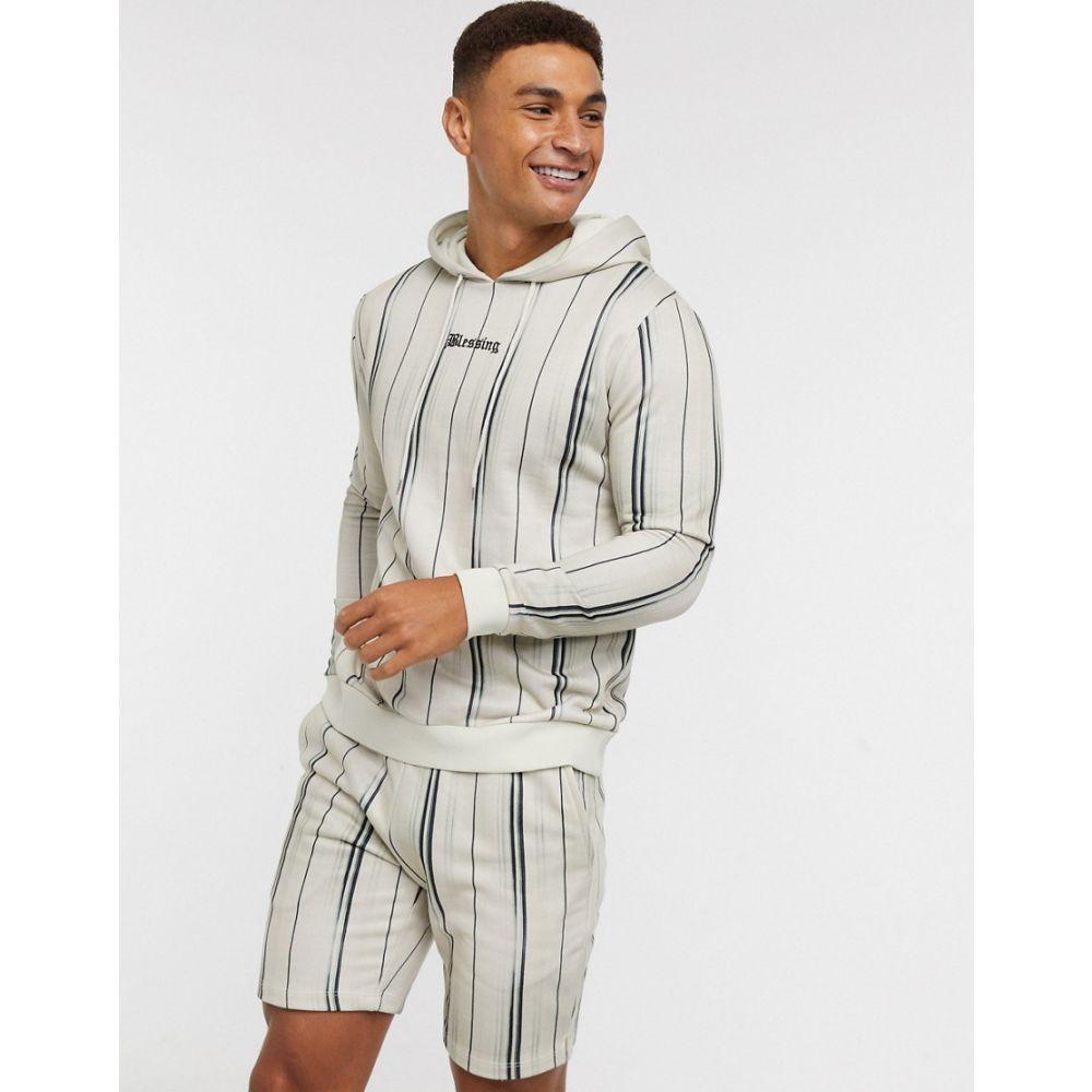 エイソス ASOS DESIGN メンズ パーカー トップス【co-ord hoodie in stripes with embroidery】Multi