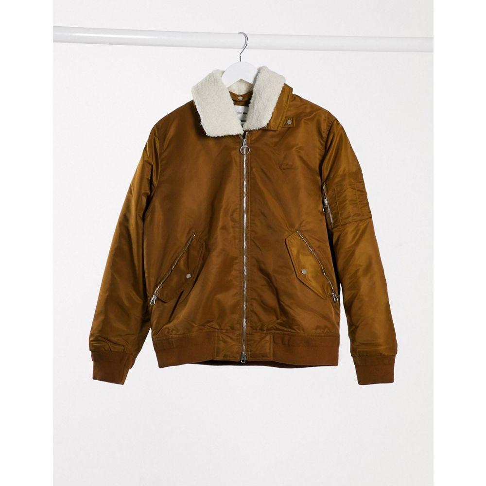 ラコステ Lacoste メンズ ブルゾン ミリタリージャケット アウター【borg collar padded bomber jacket】Brown
