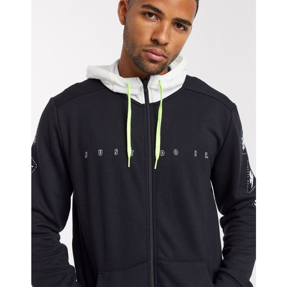 ナイキ Nike Running メンズ パーカー トップス【Nike Training zip fleece hoodie in black and white】Black