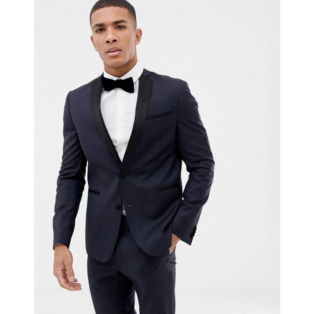 エイソス ASOS DESIGN メンズ スーツ・ジャケット タキシード アウター【slim tuxedo suit jacket in navy 100% wool】Navy