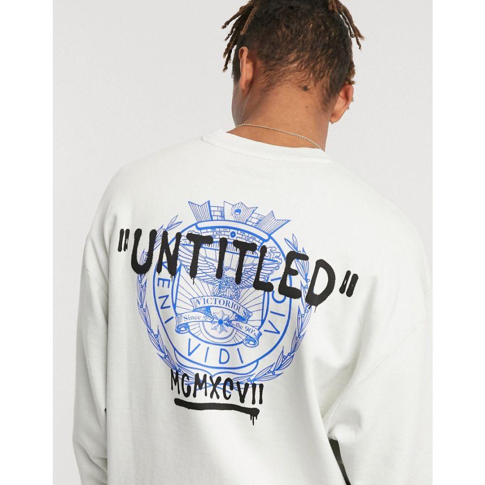 エイソス ASOS DESIGN メンズ スウェット・トレーナー トップス【oversized sweatshirt in white with back print】Washed grey