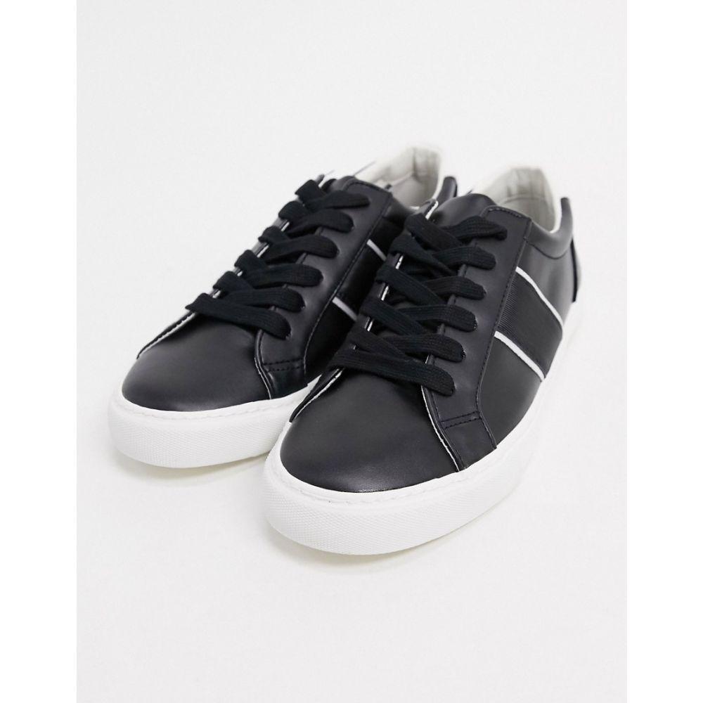 エイソス ASOS DESIGN メンズ スニーカー シューズ・靴【trainers with side stripe in black】Black