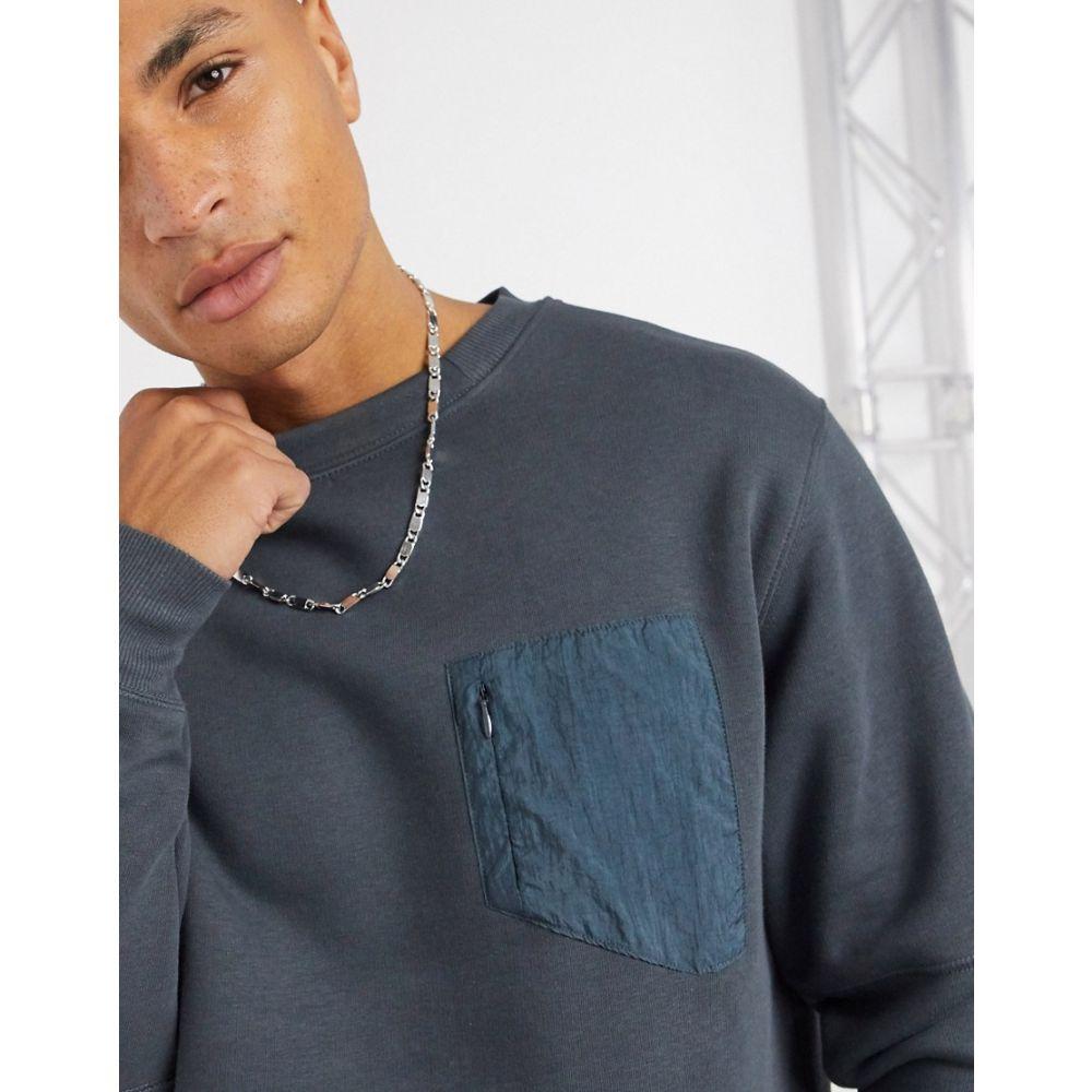 リバーアイランド River Island メンズ スウェット・トレーナー トップス【nylon panel sweatshirt in charcoal】Charcoal