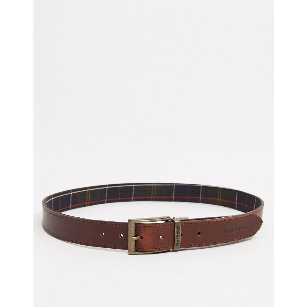バブアー Barbour メンズ ベルト 【reverisble tartan leather belt in tan】Tan