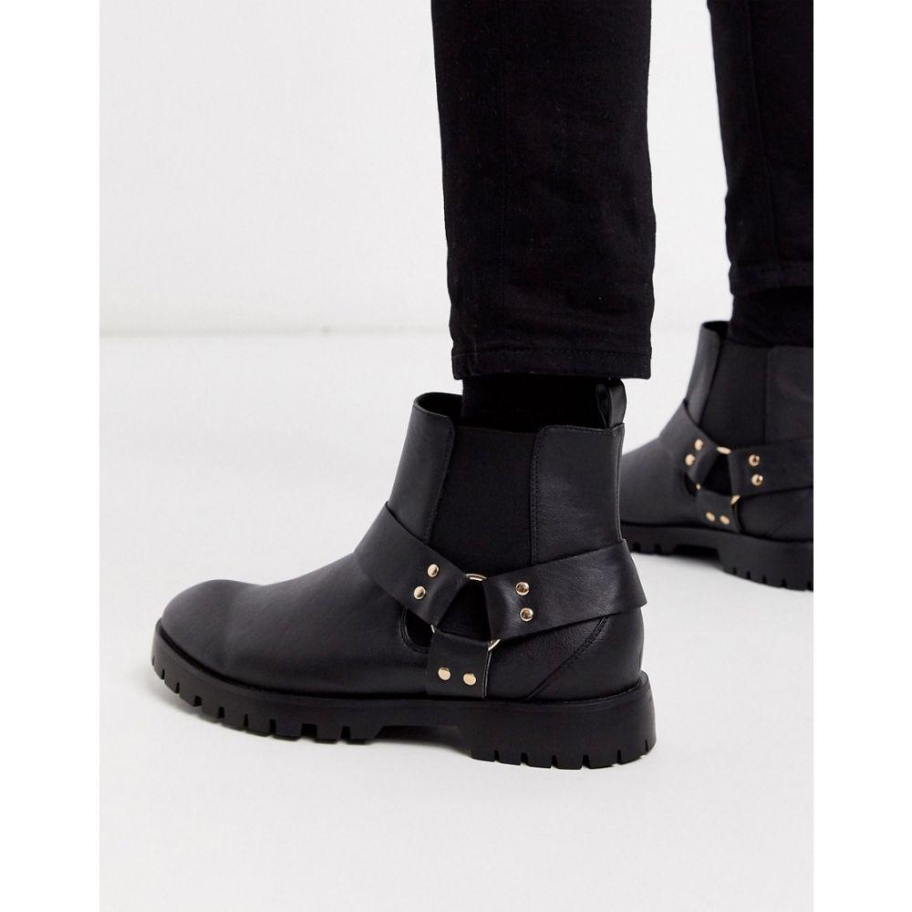 トリュフコレクション Truffle Collection メンズ ブーツ チェルシーブーツ シューズ・靴【chelsea boot with cross over straps】Black